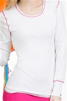 Live is Peachy Long Sleeve Lip Tee in White/Poz-A-Tively Pink