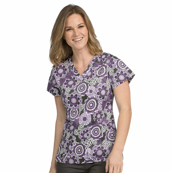 Med Couture Valerie Print Top in Charcoal Fall Petals