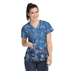 Med Couture Valerie Print Top in Denim With A Twist