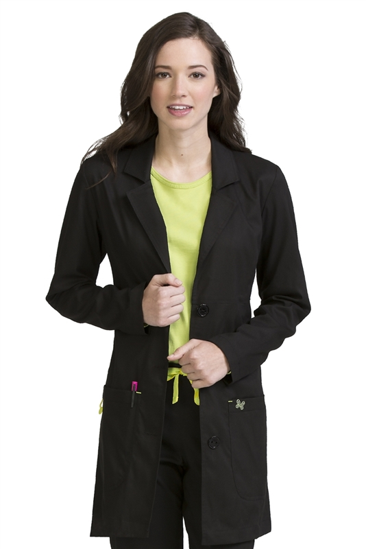 "Med Couture 33"" Chic Lab Coat in Black"