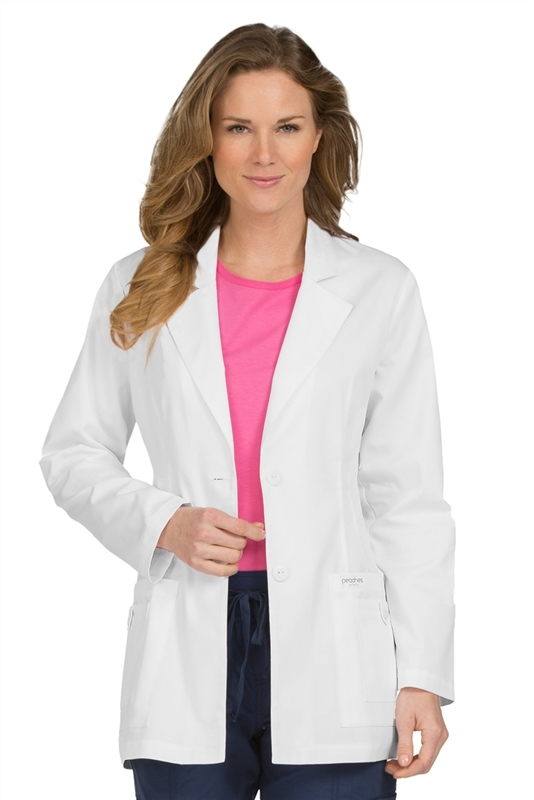 "Peaches 31""  Princess Seam Lab Coat in White"
