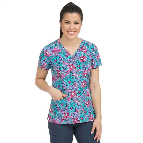 Med Couture Activate Polka Dot Fun V-neck Print Scrub Top