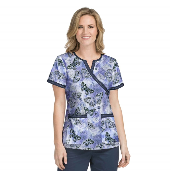 Med Couture Chrissy Print Top in Fancy Flutter