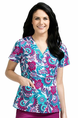 Med Couture Milan Print Top in Patch of Petals