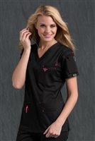 Med Couture Media Top in Black/Raspberry - $25.99