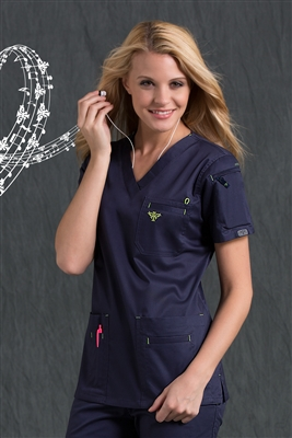 Med Couture Media Top in Navy/Apple - $25.99
