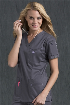 Med Couture Media Top in Steel/Peri - $25.99