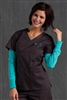 Med Couture Moda Top in Charcoal/Aruba Blue - $23.99