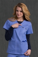 Med Couture Moda Top in Ceil/Navy - $23.99