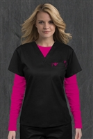 Med Couture 1 Pkt Top in Black/Raspberry - $22.99
