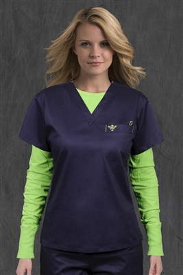 Med Couture 1 Pkt Top in Navy/Apple - $22.99