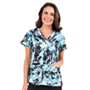 Med Couture Valerie Print Top in Blue Crush Blooms