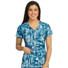 Med Couture Activate Refined Scrub Top in Cryptic Messages
