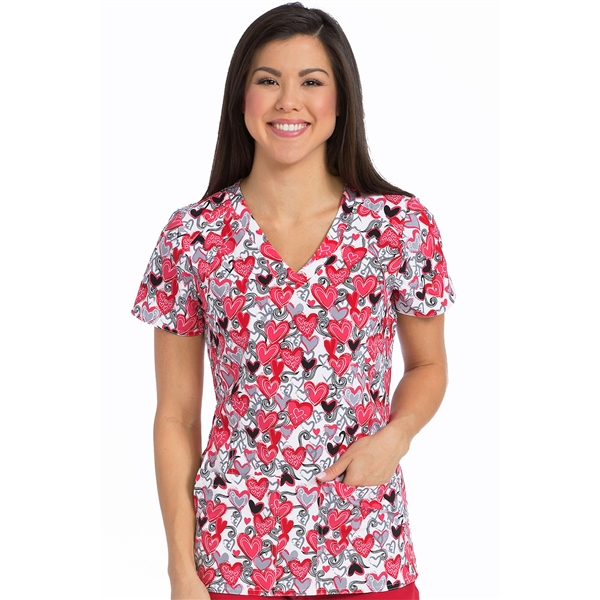 Med Couture Activate Refined Scrub Top in Pure Love