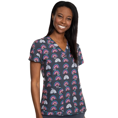 Med Couture V-neck Top Print in Rainbow Magic
