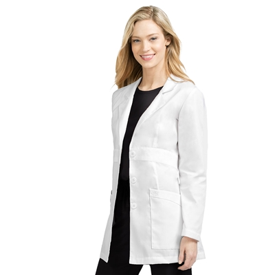 Med Couture Women's Long Lab Coat in White