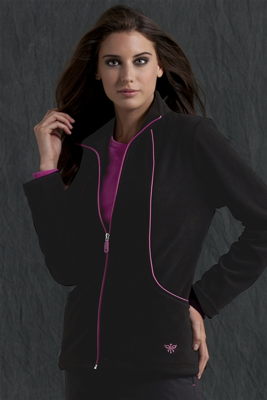 Med Couture Fleece Jacket in Black/Raspberry- $28.99