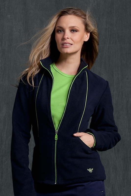 Med Couture Fleece Jacket in Navy/Apple- $28.99