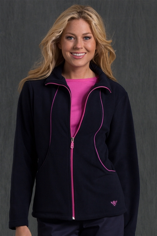 Med Couture Fleece Jacket in Navy/Bora Bora Pink- $28.99