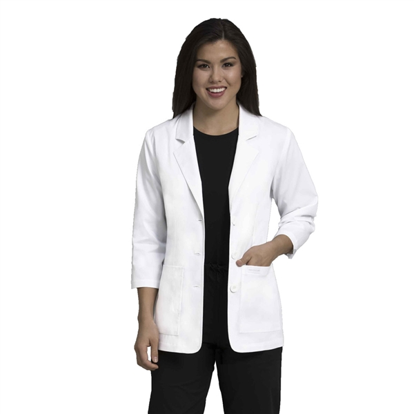 "Med Couture 28"" Consultation Length Lab Coat in White"