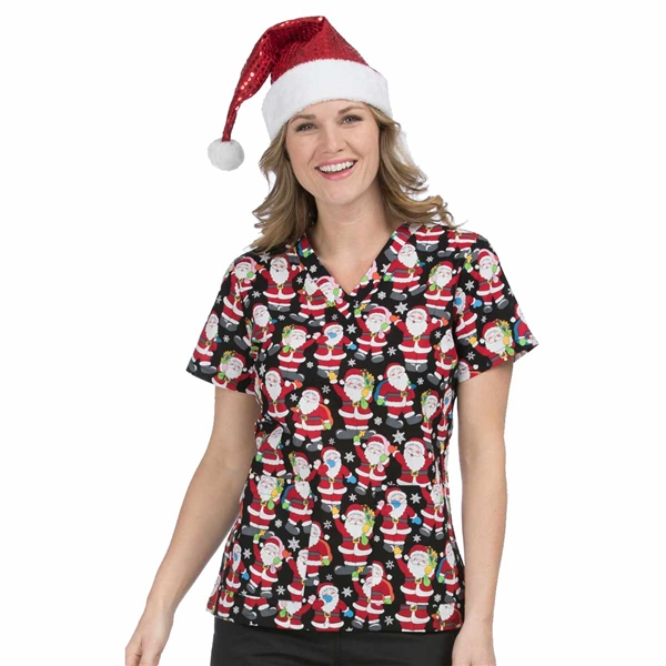 Med Couture Anna Print Top in Ho Ho Ho