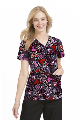 Peaches Anna Print Top in Heart's Desire