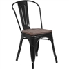 Riverstone CH-31230-BK-WD-GG Bistro Chair, Black Metal Frame with Textured Wood Seat
