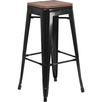 Riverstone CH-31320-30-BK-WD-GG Bar Stool, Black Powdercoat Frame, Textured Wood Seat