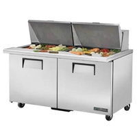 "True TSSU-60-24M-B-ST-HC Refrigerated Salad / Sandwich Table, 60"" Mega Top, Two Section"