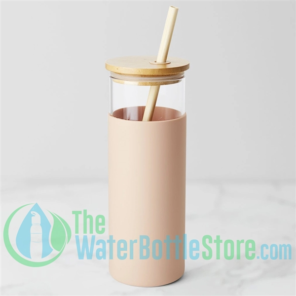Boon Supply Glass Bamboo Water Bottle Blush