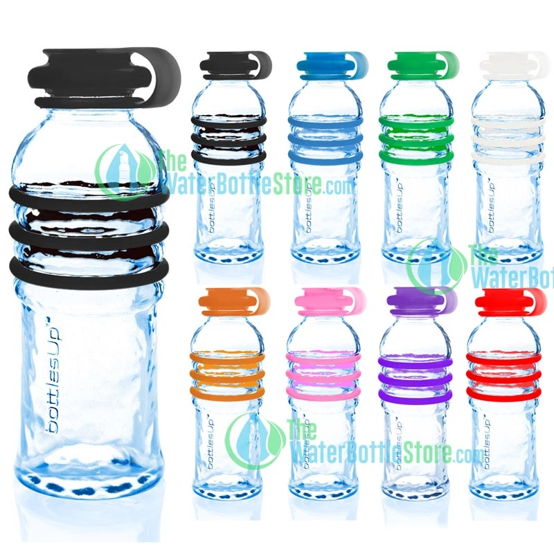 BottlesUp 16oz Glass Water Bottle with Silicone Rings ... 9a8508526409