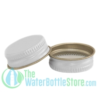 Replacement 28mm White Metal Lid Cap with Plastisol Liner