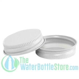 Replacement 38mm White Metal Lid Cap with Plastisol Liner
