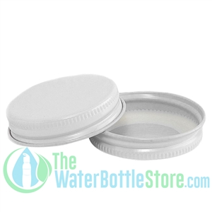 Replacement 43mm White Metal Lid Cap with Plastisol Liner