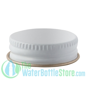 Replacement 33mm White Gold Metal Lid Cap with Plastisol Liner