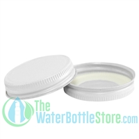 Replacement 48mm White Metal Lid Cap with Plastisol Liner