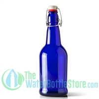 16 oz Cobalt Blue Glass Beer Bottle with Swing Top Stopper