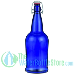 32 oz Cobalt Blue Glass Beer Bottle with Swing Top Stopper
