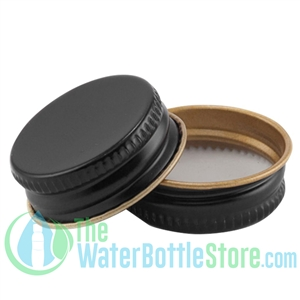 Replacement 28mm Black Metal Lid Cap with Plastisol Liner