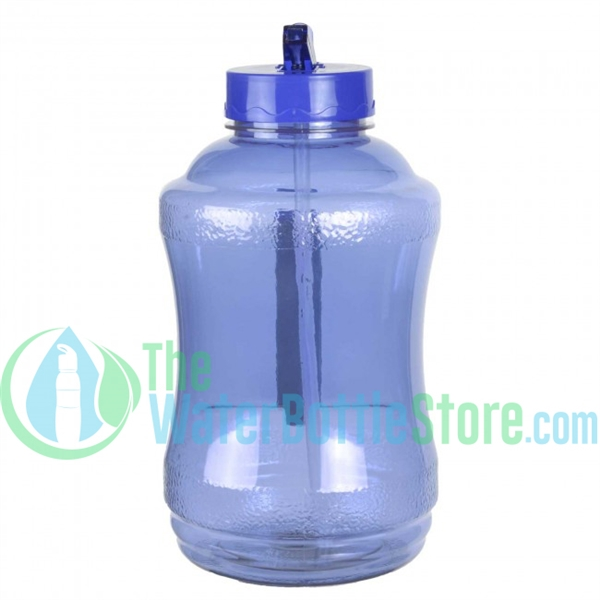 Half Gallon 56oz Blue Water Bottle Straw Handle