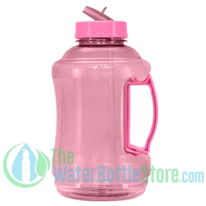 Half Gallon 56oz Pink Water Bottle Straw Handle