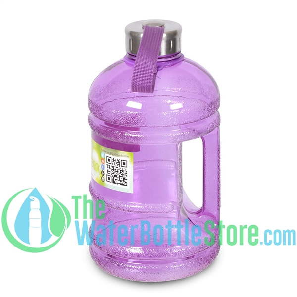Half Gallon 64oz Purple Water Bottle Handle & Steel Cap