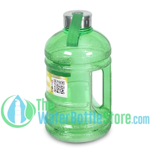 Half Gallon 64oz Green Water Bottle Handle & Steel Cap