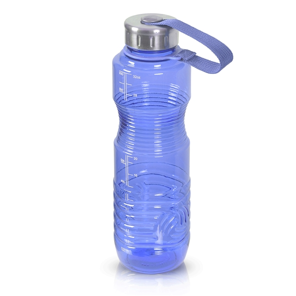 1 Liter 32oz Blue Reusable Water Bottle Steel Top