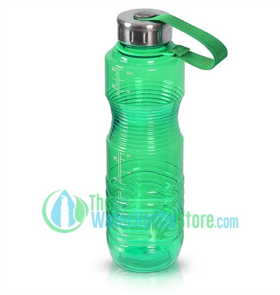 1 Liter 32oz Green Reusable Water Bottle Steel Top