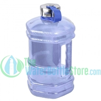Half Gallon 77oz Hexagon Blue Plastic Reusable Water Bottle Steel Top