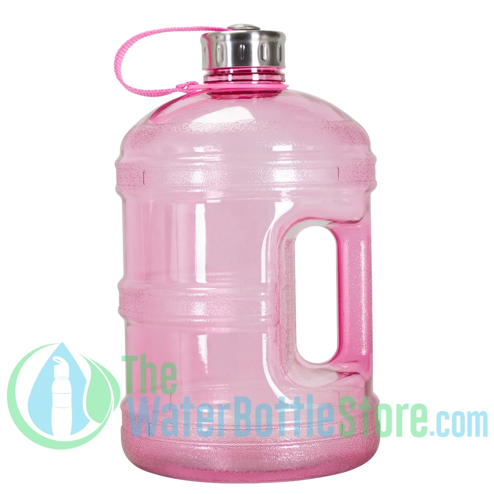 1 Gallon Pink Water Bottle W Handle Steel Cap Thewaterbottlestore Com