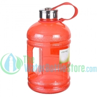 Half Gallon 64oz Red Water Bottle Handle & Steel Cap