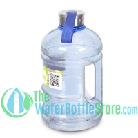 Half Gallon 64oz Light Blue Water Bottle Handle & Steel Cap