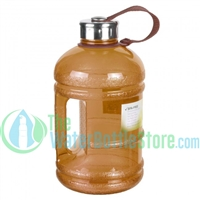 Half Gallon 64oz Brown Water Bottle Handle & Steel Cap